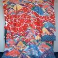 栗山工房 紅型振袖 雲松鶴に桜菖蒲山紅型模様振袖