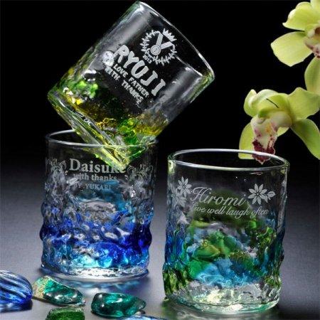 琉球ガラスの名前入りコップ